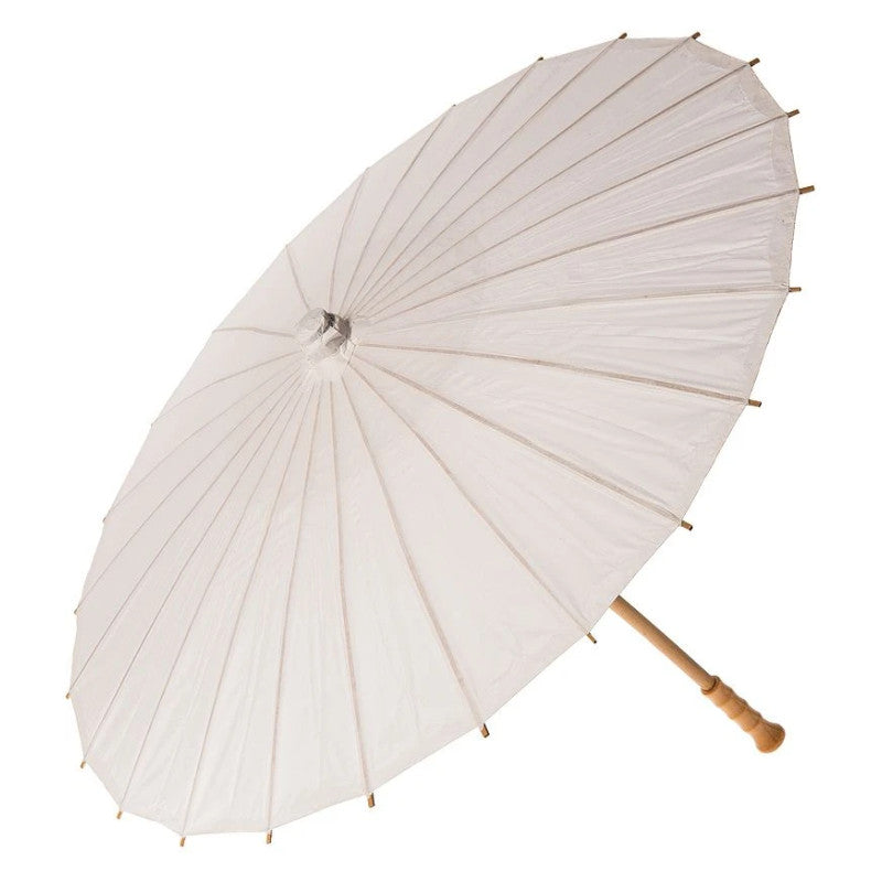 "BULK PACK (6) 32"" Wedding White Paper Parasol Umbrellas with Elegant Handle"