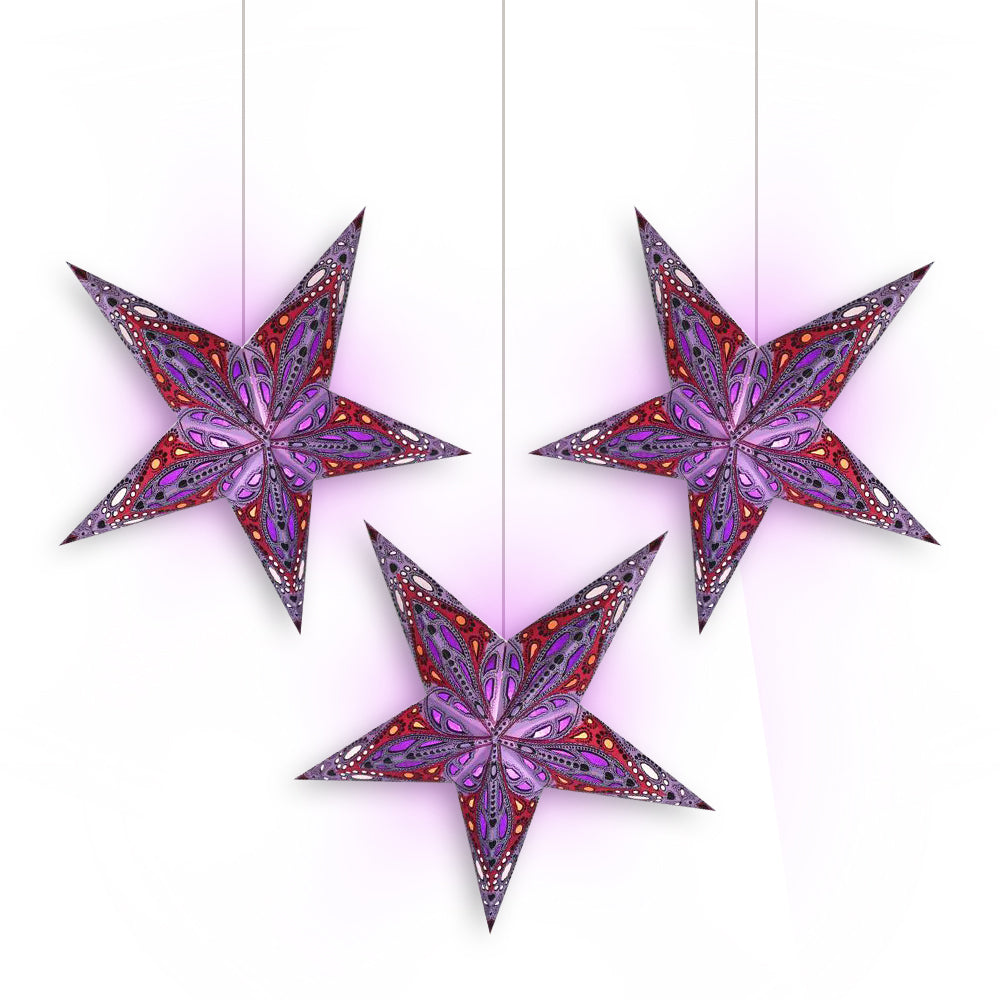 "3-PACK + Cord | Purple Dahlia 24"" Illuminated Paper Star Lanterns and Lamp Cord Hanging Decorations - PaperLanternStore.com - Paper Lanterns, Decor, Party Lights & More"