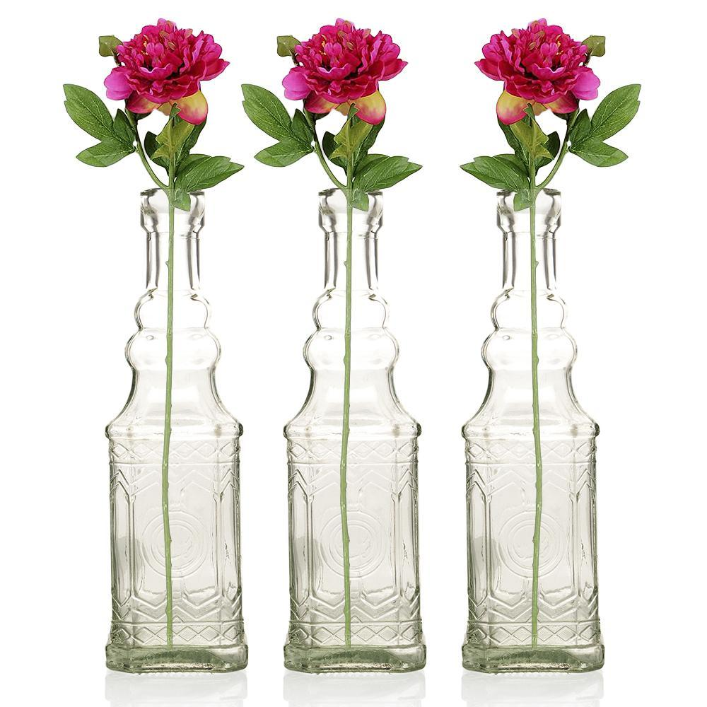 "12 Pack | 6.5"" Ella Clear Vintage Glass Bottle with Cork - DIY Wedding Flower Bud Vases - PaperLanternStore.com - Paper Lanterns, Decor, Party Lights & More"