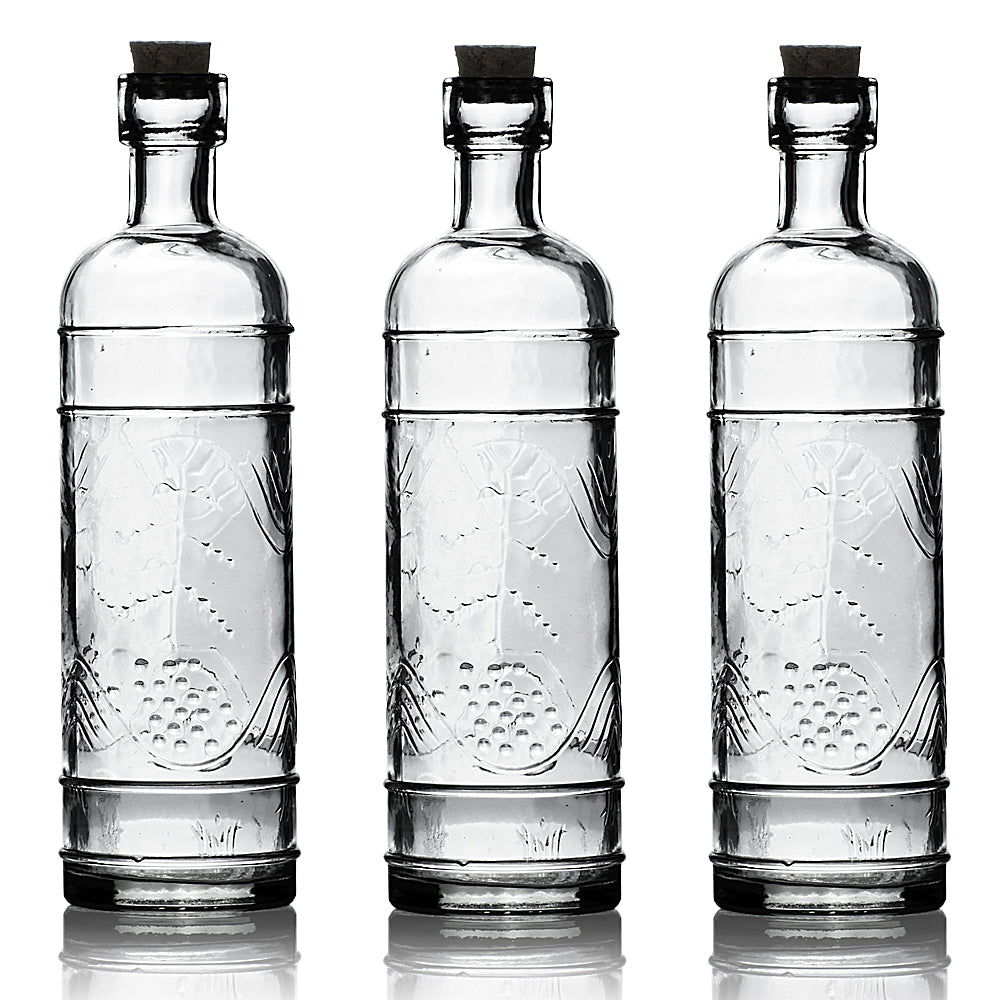 "3 Pack | 6.5"" Mabel Clear Vintage Glass Bottle with Cork - DIY Wedding Flower & Bud Vases"