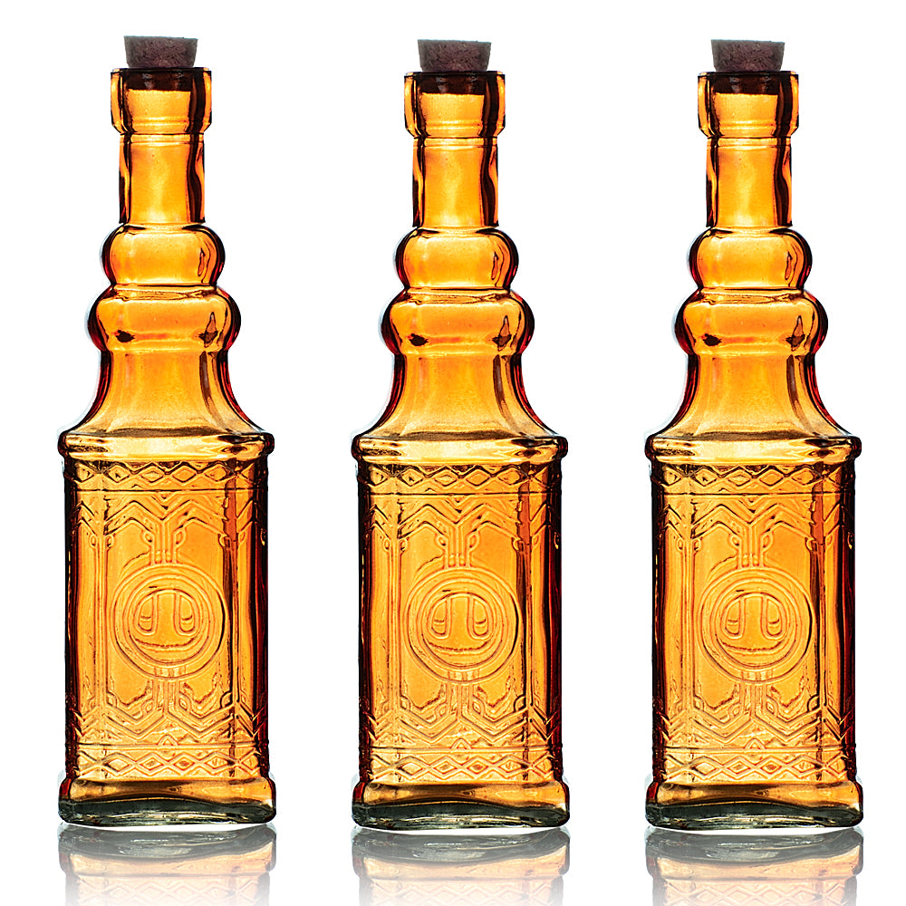 "3 Pack | 6.5"" Ella Orange Vintage Glass Bottle with Cork - DIY Wedding Flower Bud Vases"