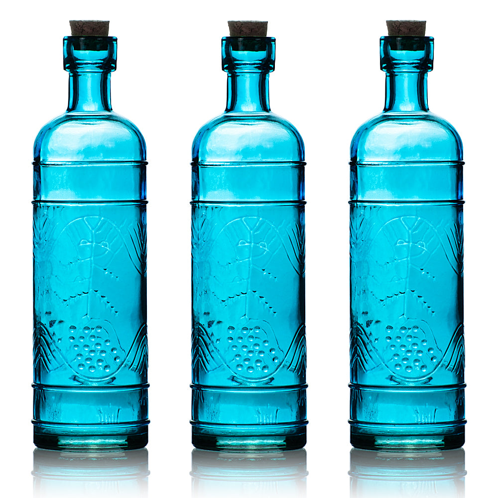 "3 Pack | 6.5"" Mabel Turquoise Vintage Glass Bottle with Cork - DIY Wedding Flower & Bud Vases"