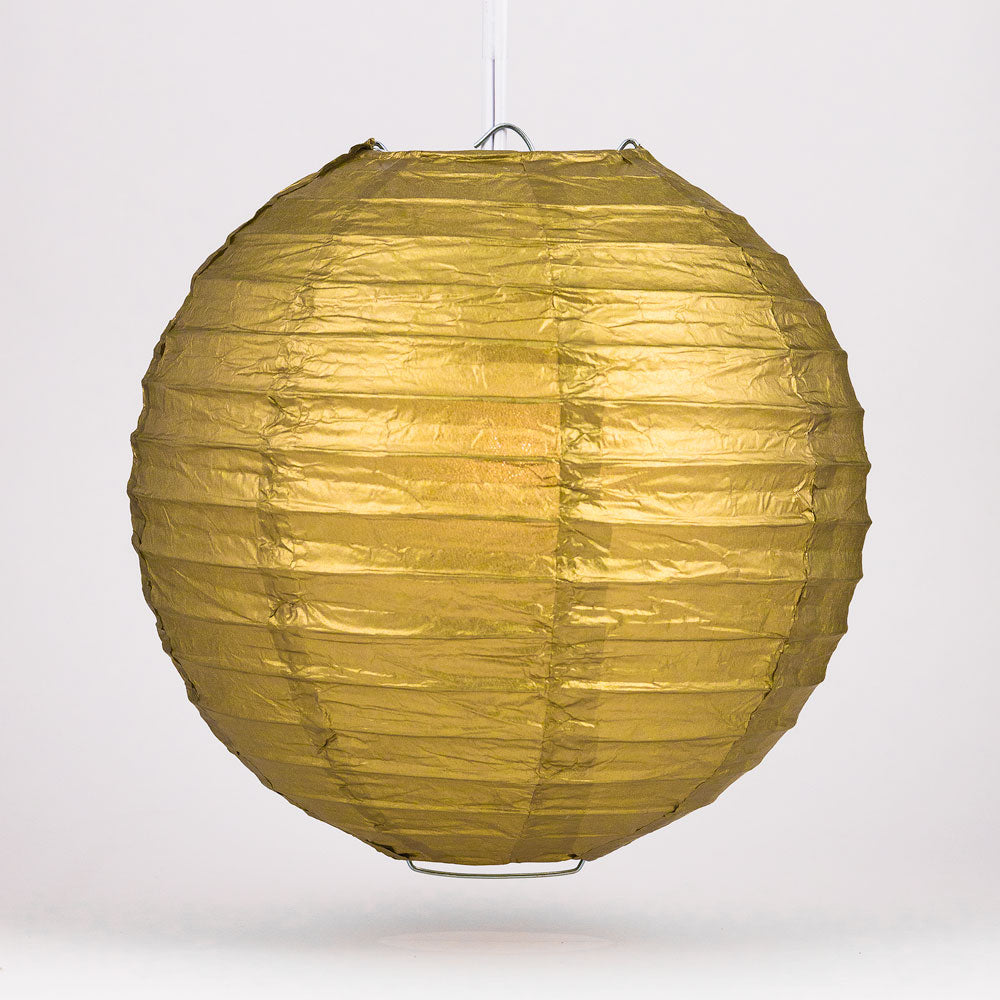 "30"" Gold Jumbo Round Paper Lantern, Even Ribbing, Chinese Hanging Wedding & Party Decoration"