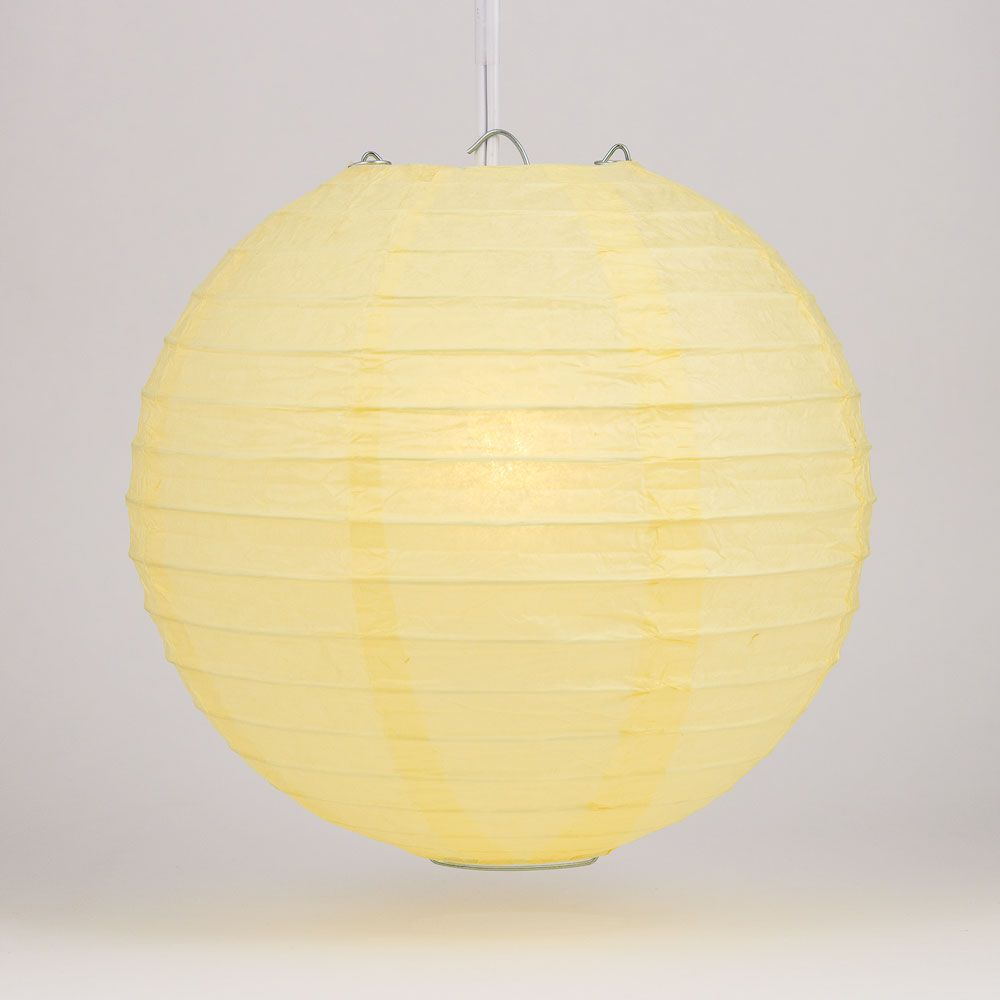 "30"" Lemon Yellow Jumbo Round Paper Lantern, Even Ribbing, Chinese Hanging Wedding & Party Decoration"