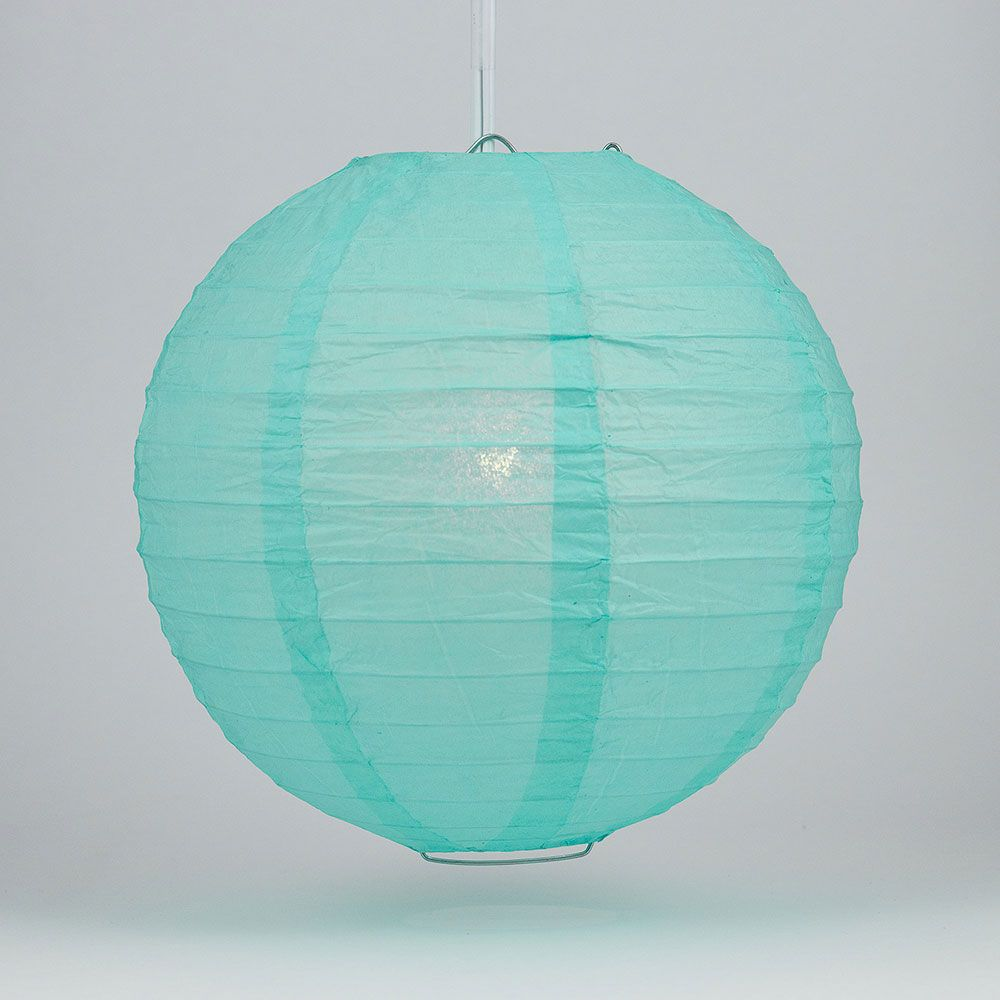 "30"" Water Blue Jumbo Round Paper Lantern, Even Ribbing, Chinese Hanging Wedding & Party Decoration - PaperLanternStore.com - Paper Lanterns, Decor, Party Lights & More"