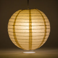 "30"" Mocha /Light Brown Jumbo Round Paper Lantern, Even Ribbing, Chinese Hanging Wedding & Party Decoration"