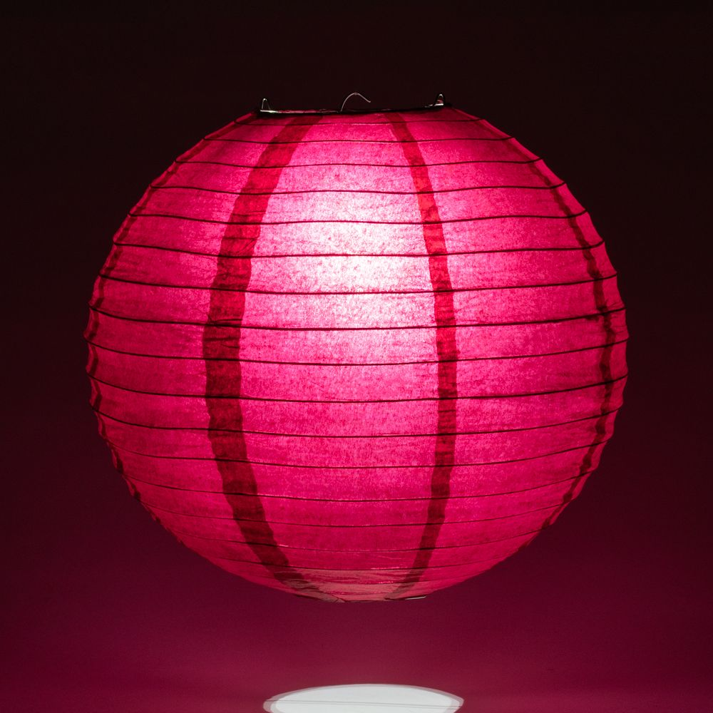 "20"" Velvet Red Round Paper Lantern, Even Ribbing, Chinese Hanging Wedding & Party Decoration"