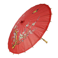 "32"" Red Cherry Paper Parasol Umbrella Sun Protection with Elegant Handle"