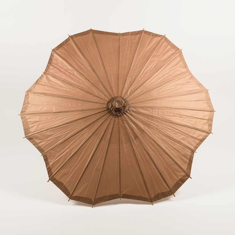 "BLOWOUT 32"" Brown Paper Parasol Umbrella, Scallop Shaped (Sun Protection)"
