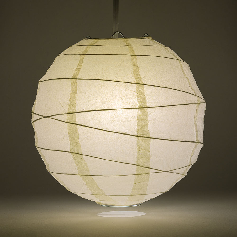"12"" Beige / Ivory Round Paper Lantern, Crisscross Ribbing, Chinese Hanging Wedding & Party Decoration"