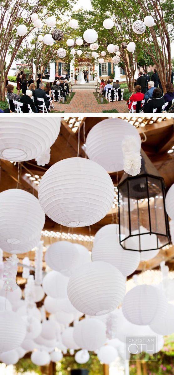 "14"" White Round Paper Lantern, Crisscross Ribbing, Chinese Hanging Wedding & Party Decoration"