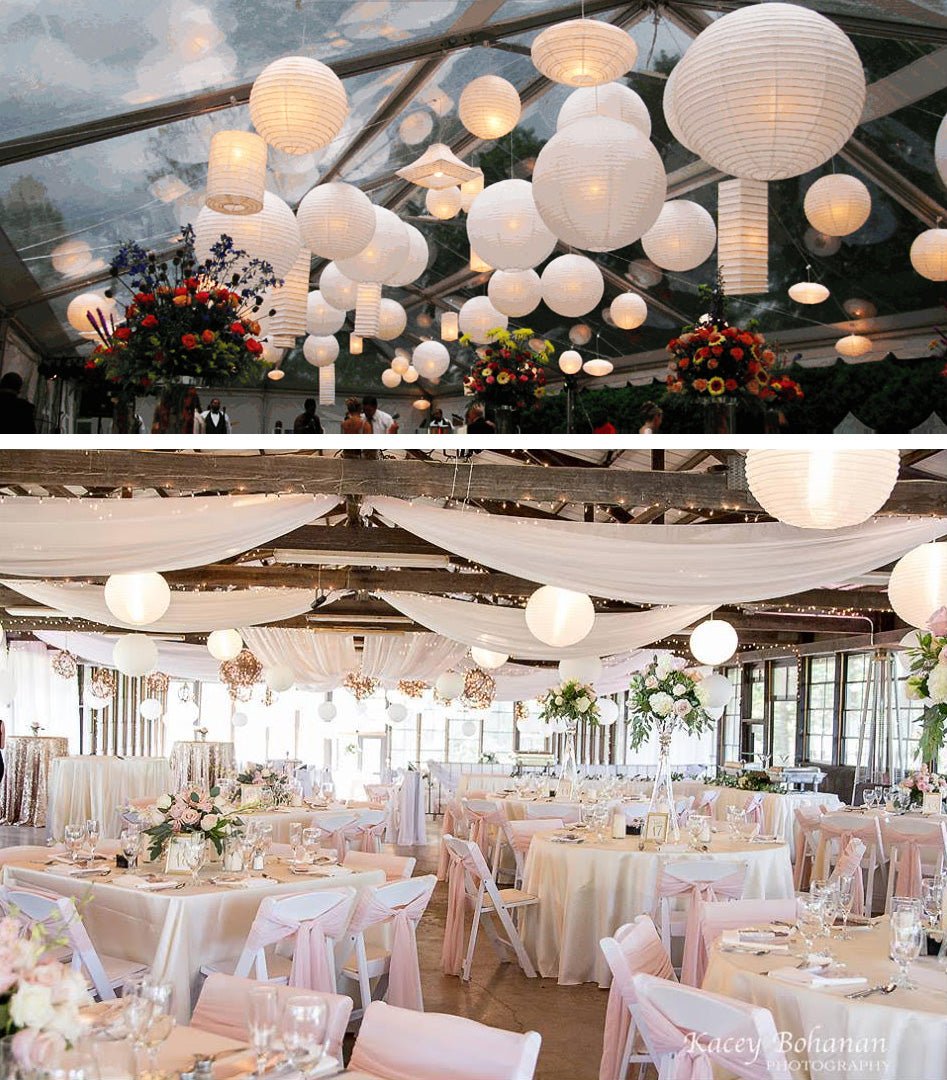 "24"" White Round Paper Lantern, Crisscross Ribbing, Chinese Hanging Wedding & Party Decoration"
