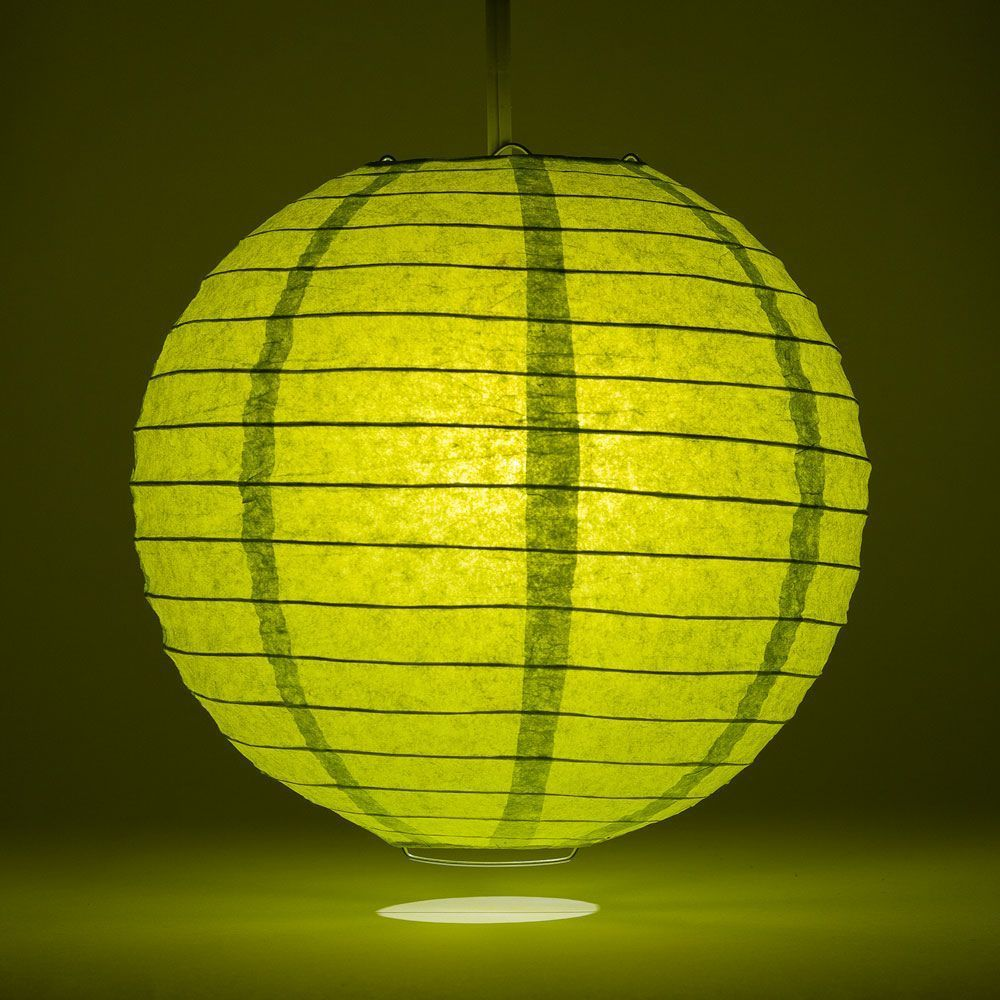 "36"" Chartreuse Jumbo Round Paper Lantern, Even Ribbing, Chinese Hanging Wedding & Party Decoration"