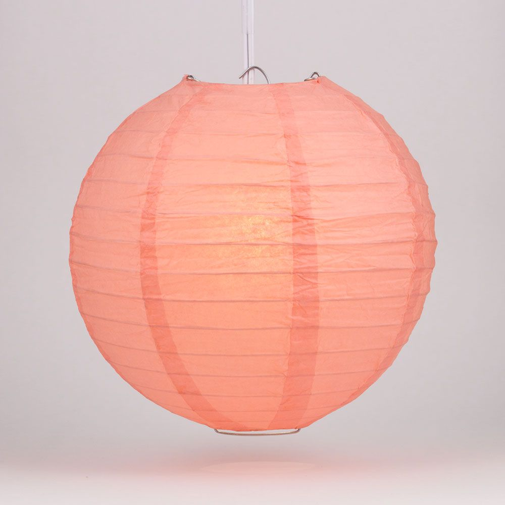 "36"" Roseate / Pink Coral Jumbo Round Paper Lantern, Even Ribbing, Chinese Hanging Wedding & Party Decoration"
