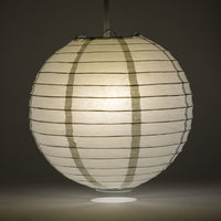 "36"" Silver Jumbo Round Paper Lantern, Even Ribbing, Chinese Hanging Wedding & Party Decoration"