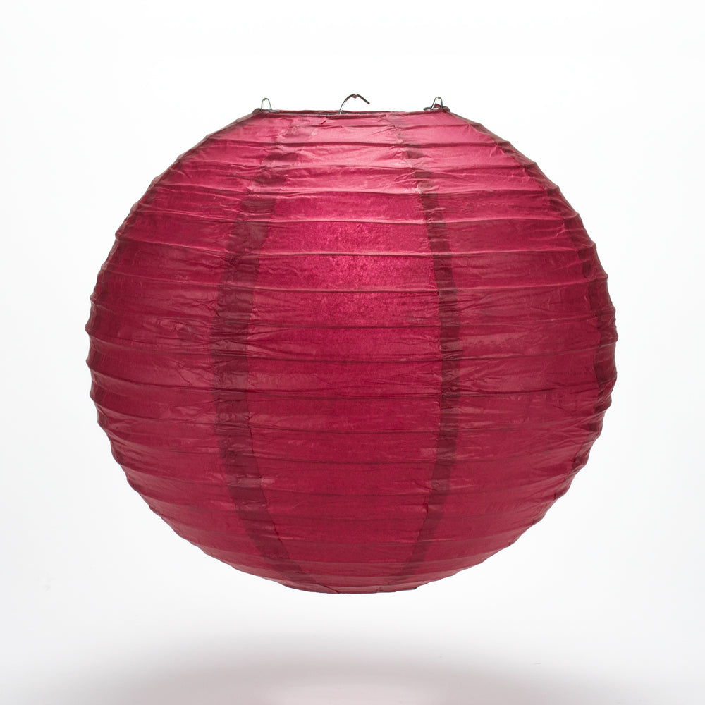 "36"" Velvet Red Jumbo Round Paper Lantern, Even Ribbing, Chinese Hanging Wedding & Party Decoration"