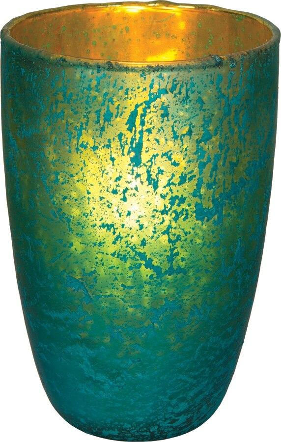 Turquoise Blue Salama Luxe Glass Medium Candle Holder - PaperLanternStore.com - Paper Lanterns, Decor, Party Lights & More