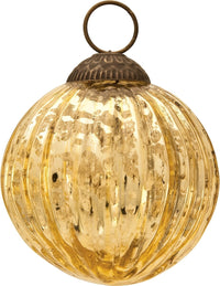 "3"" Gold Mona Mercury Glass Lined Ball Ornament Christmas Decoration"