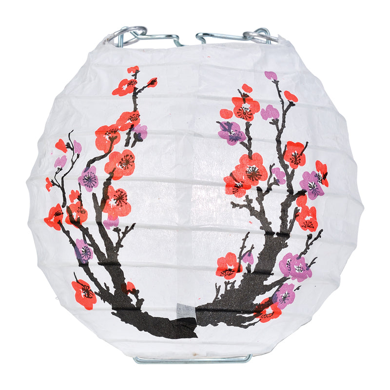"10 Socket Cherry Blossom / Sakura Round Paper Lantern Party String Lights (4"" Lanterns, Expandable)"