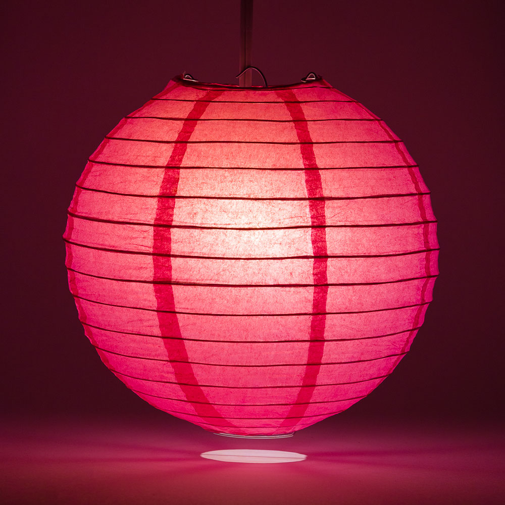 "12"" Fuchsia / Hot Pink Round Paper Lantern, Even Ribbing, Chinese Hanging Wedding & Party Decoration"