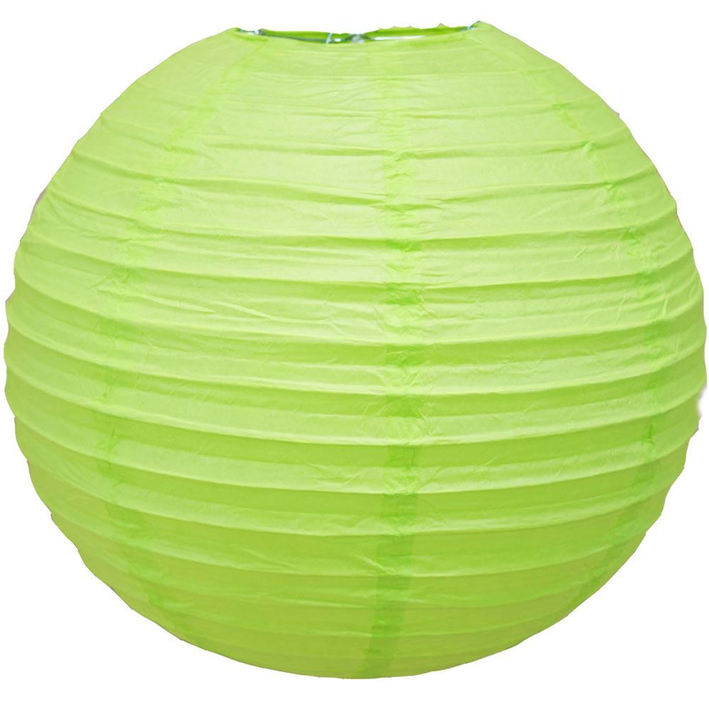 "4"" Light Lime Green Round Paper Lantern, Even Ribbing, Hanging Decoration (10 PACK)"