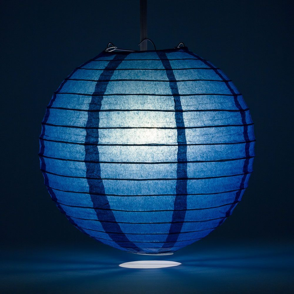 "14"" Navy Blue Round Paper Lantern, Even Ribbing, Chinese Hanging Wedding & Party Decoration"