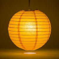 "24"" Orange Round Paper Lantern, Even Ribbing, Chinese Hanging Wedding & Party Decoration"