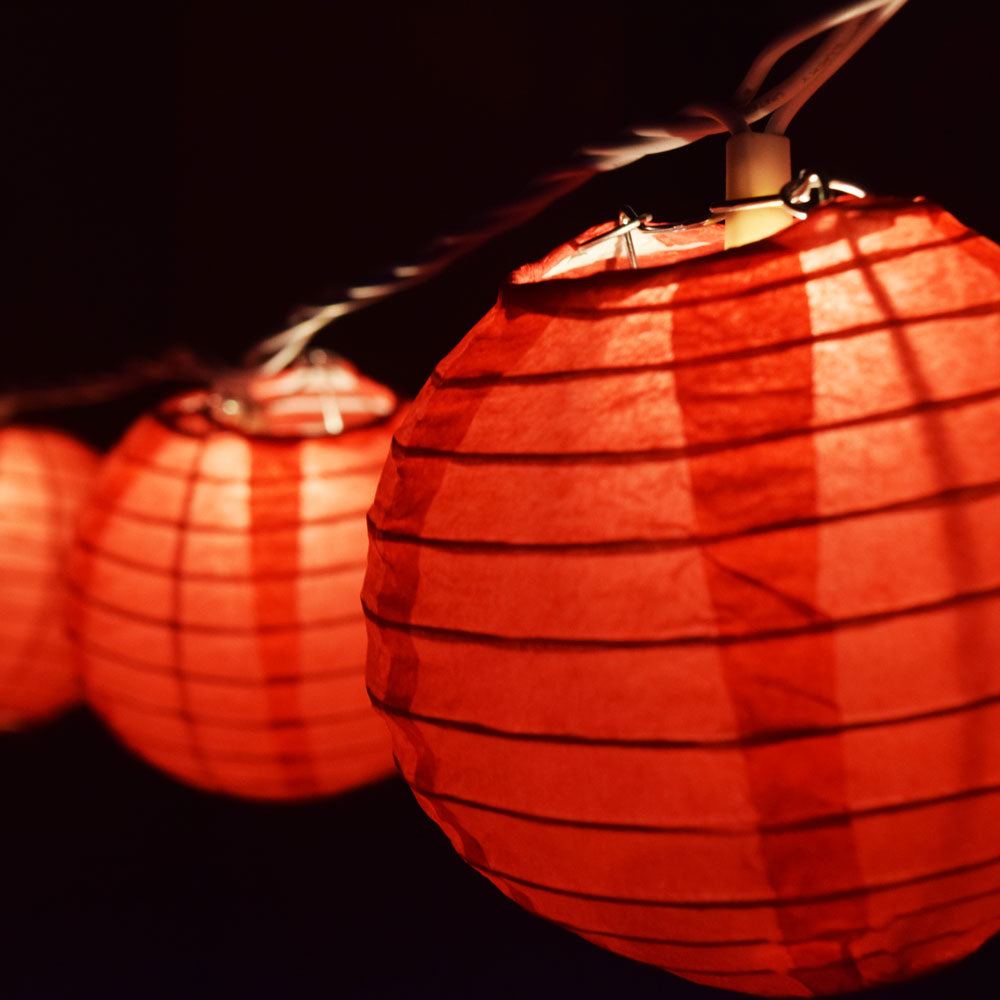 "10 Socket Red Round Paper Lantern Party String Lights (4"" Lanterns, Expandable)"