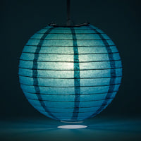 "4"" Tahiti Teal Round Paper Lantern, Even Ribbing, Hanging Decoration (10-Pack)"