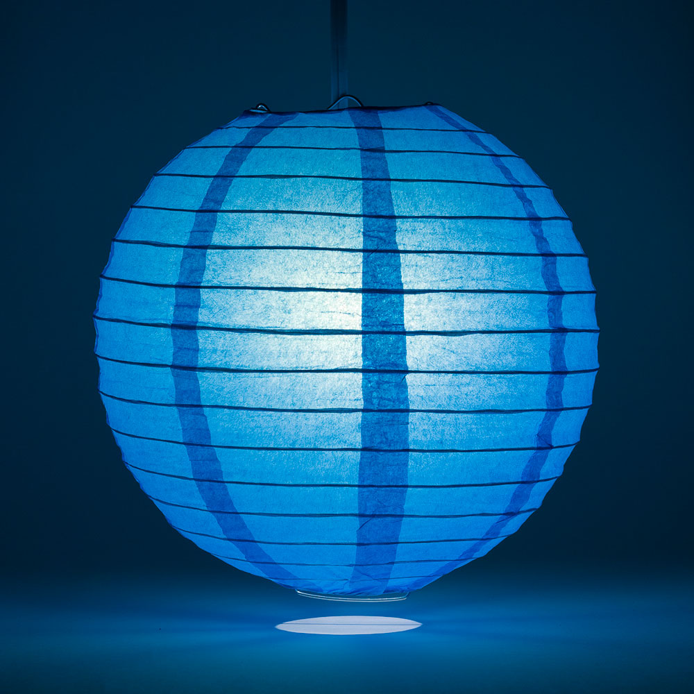 "14"" Turquoise Round Paper Lantern, Even Ribbing, Chinese Hanging Wedding & Party Decoration"