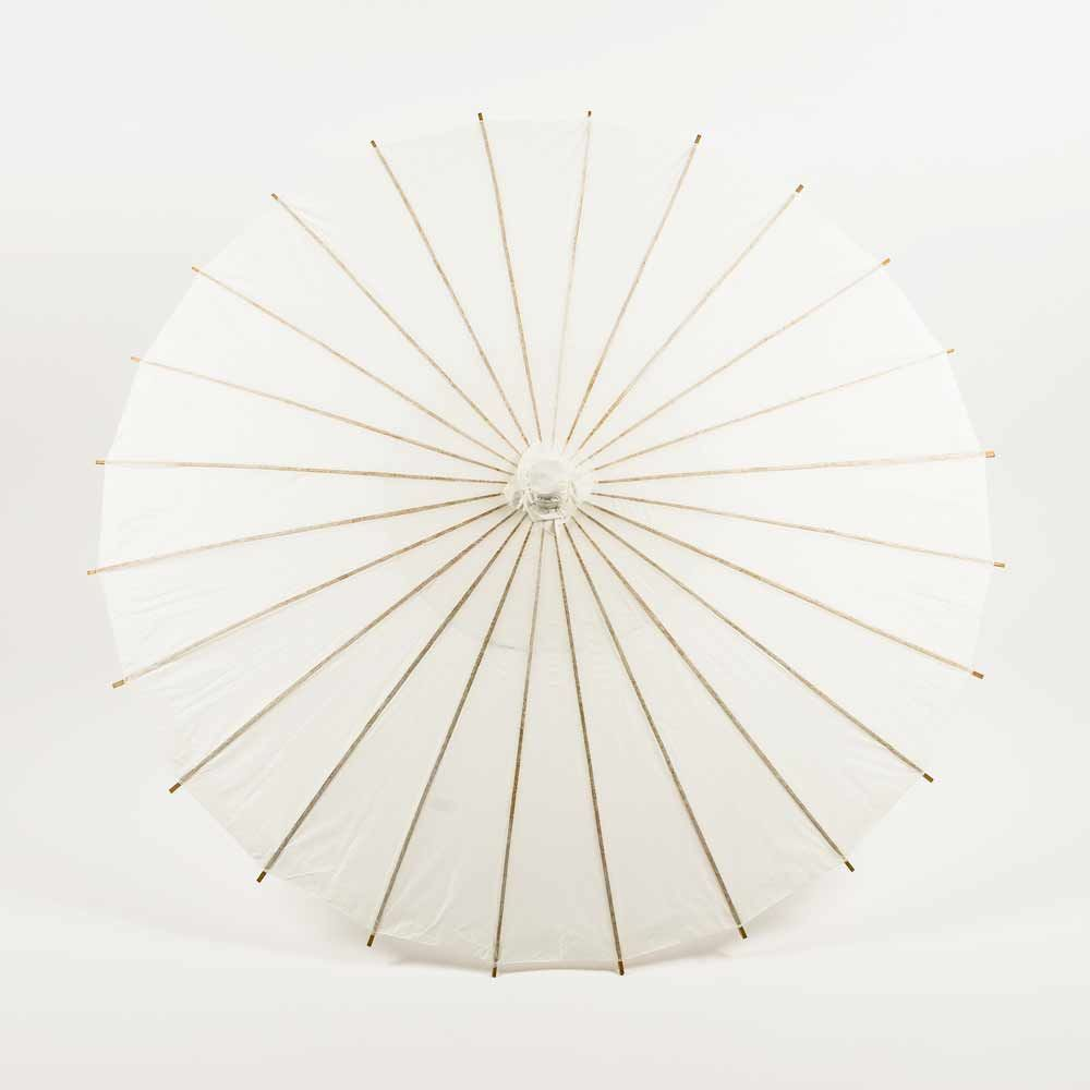 "20"" White Paper Parasol Umbrella for Weddings and Parties - Great for Kids (Sun Protection)"