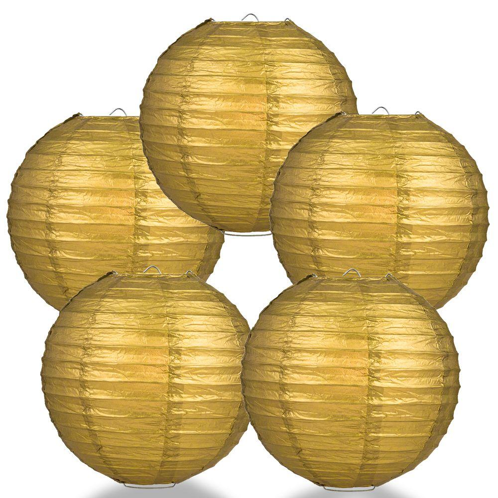 "BULK PACK (5) 6"" Gold Round Paper Lantern, Even Ribbing, Chinese Hanging Wedding & Party Decoration - PaperLanternStore.com - Paper Lanterns, Decor, Party Lights & More"