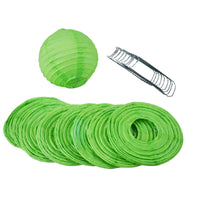 "4"" Grass Greenery Round Paper Lantern, Even Ribbing, Hanging Decoration (10 PACK)"