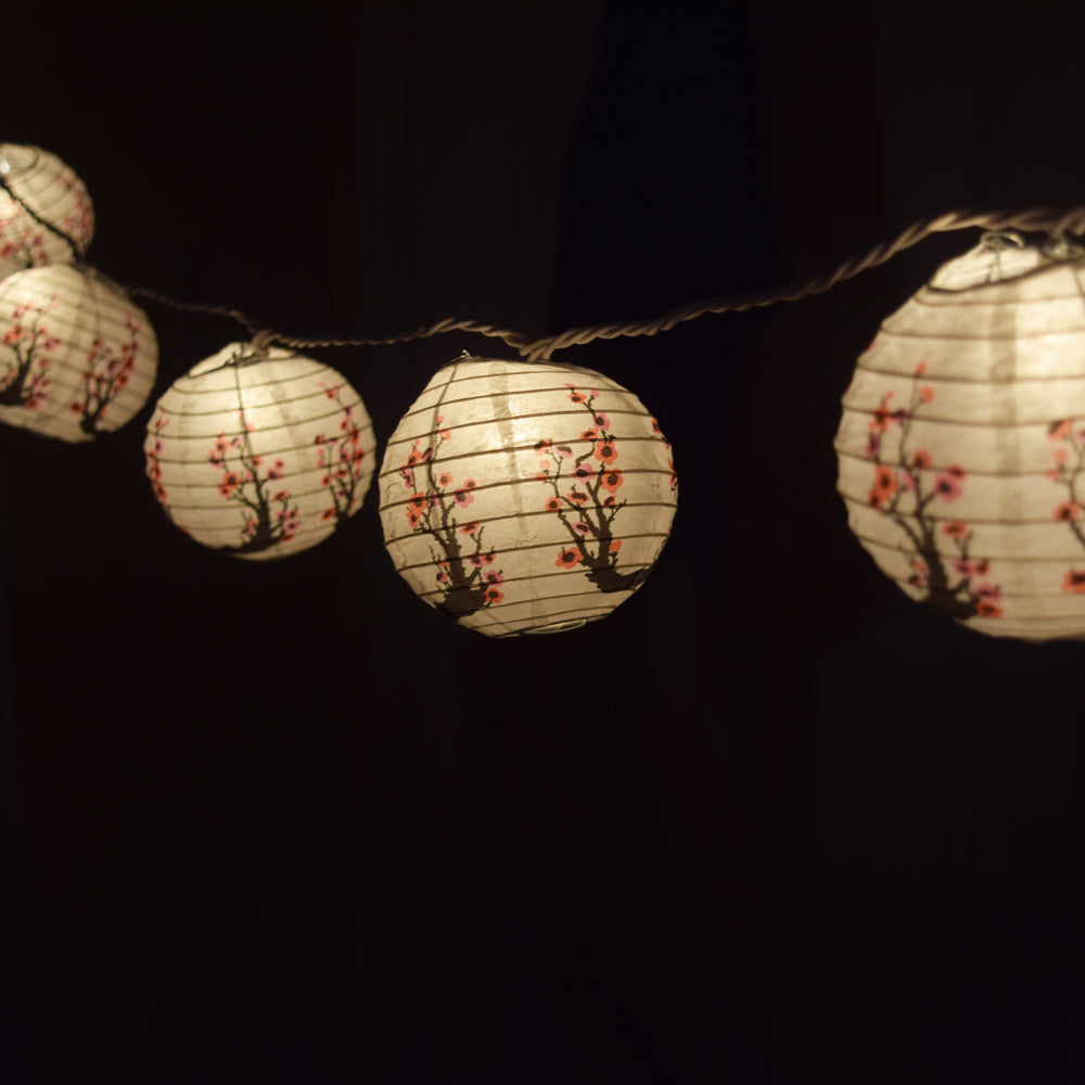 10 Socket Cherry Blossom Sakura Round Paper Lantern Party String Lights 4 Inch Lanterns On Sale Now Chinese Lanterns Cheap Lanterns At Bulk Wholesale Best Prices