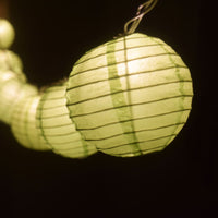 "10 Socket Light Lime Green Round Paper Lantern Party String Lights (4"" Lanterns, Expandable)"