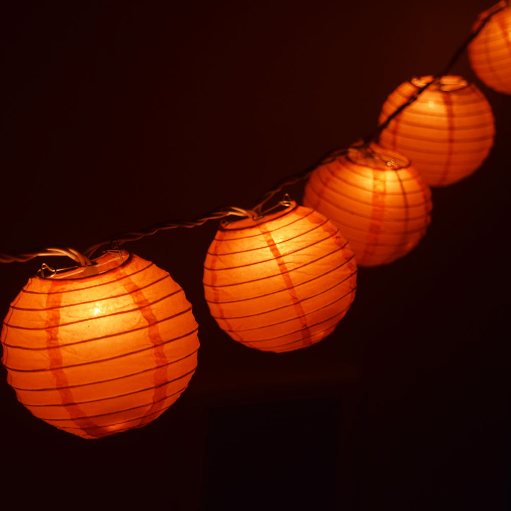"10 Socket Orange Round Paper Lantern Party String Lights (4"" Lanterns, Expandable)"