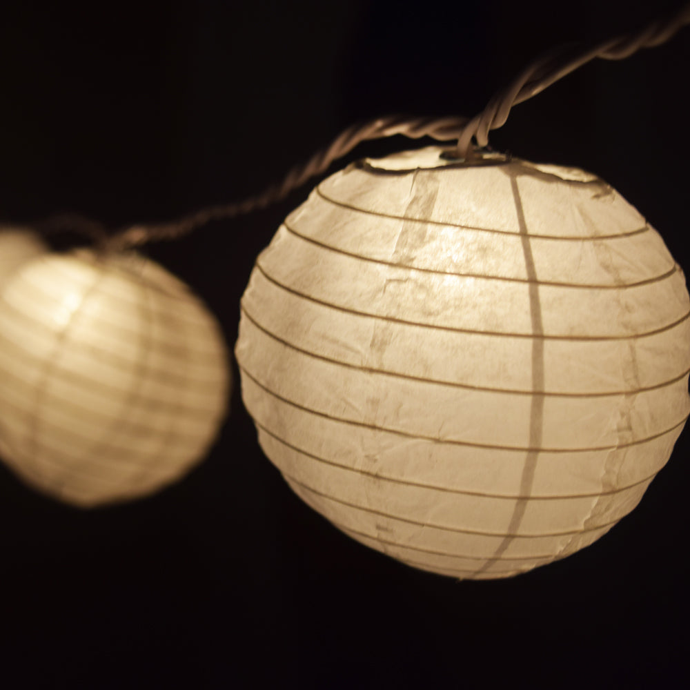 "10 Socket White Round Paper Lantern Party String Lights (4"" Lanterns, Expandable)"