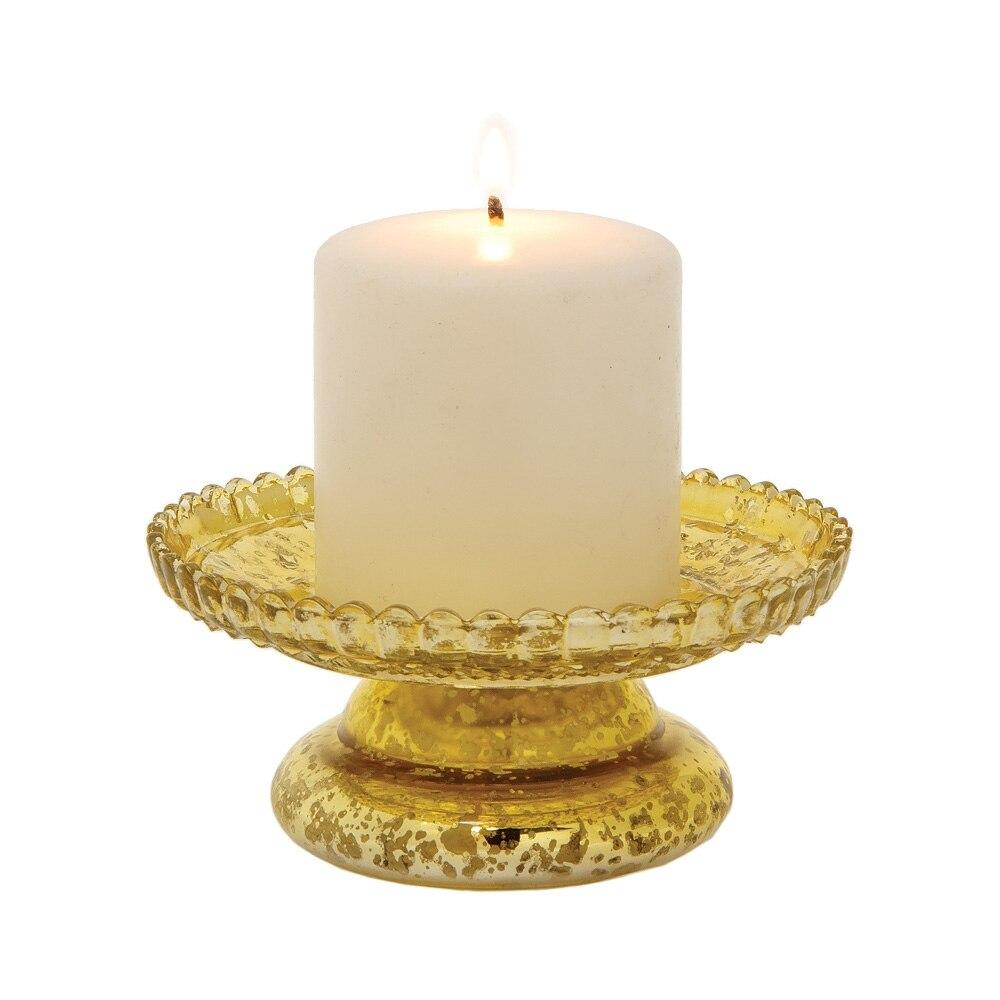 Gold Mercury Glass Anna Pillar Candle Stand - PaperLanternStore.com - Paper Lanterns, Decor, Party Lights & More