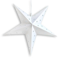 "LANTERN + CORD + BULB | 30"" White 5-Point Weatherproof Star Lantern Lamp, Hanging Decoration - PaperLanternStore.com - Paper Lanterns, Decor, Party Lights & More"