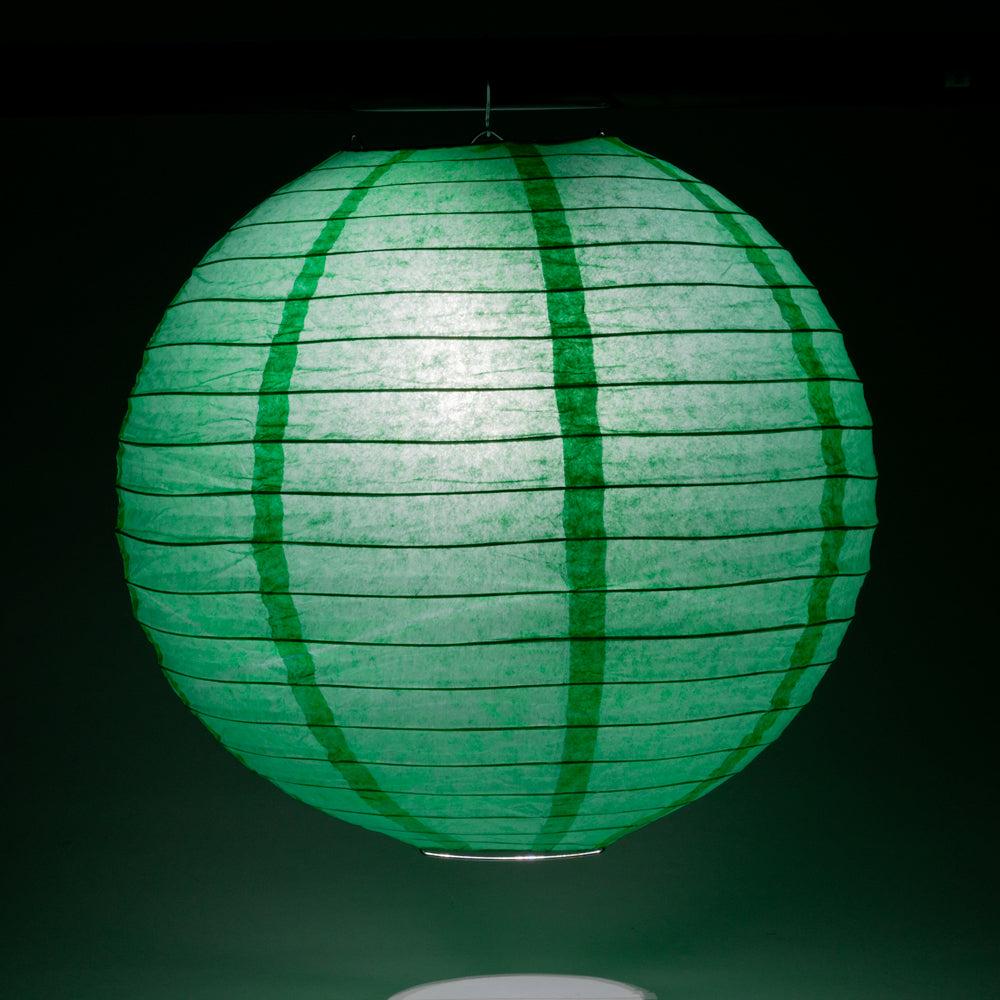 "10"" Arcadia Teal Round Paper Lantern, Even Ribbing, Hanging Decoration"