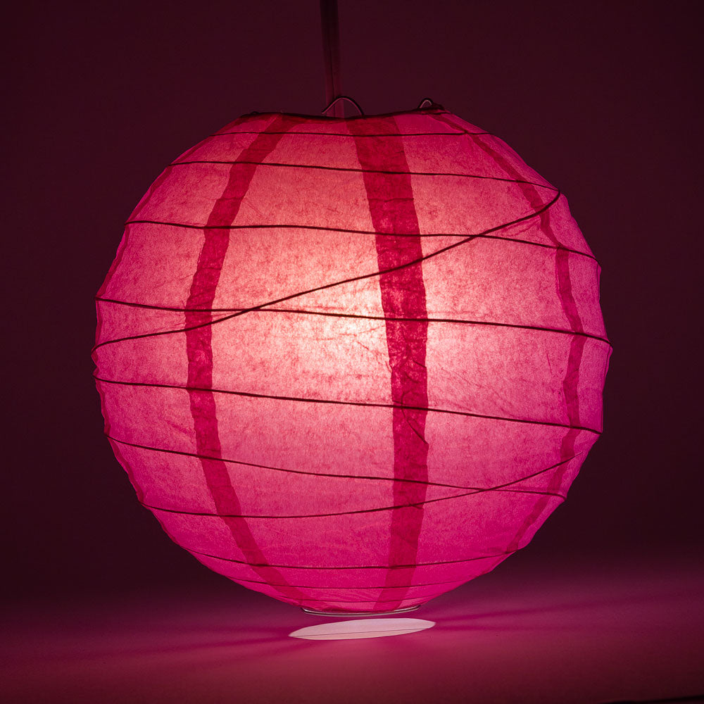 "6"" Fuchsia / Hot Pink Round Paper Lantern, Crisscross Ribbing, Chinese Hanging Wedding & Party Decoration"
