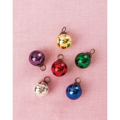 "6 Pack | 1.5"" Assorted Color Mini Mercury Glass Ball Ornaments Christmas Tree Decoration"