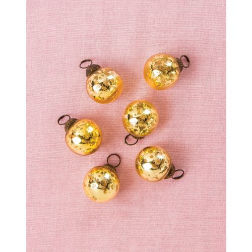 "6 Pack | 1.5"" Gold Ava Mini Mercury Handcrafted Glass Balls Ornament Christmas Tree Decoration"