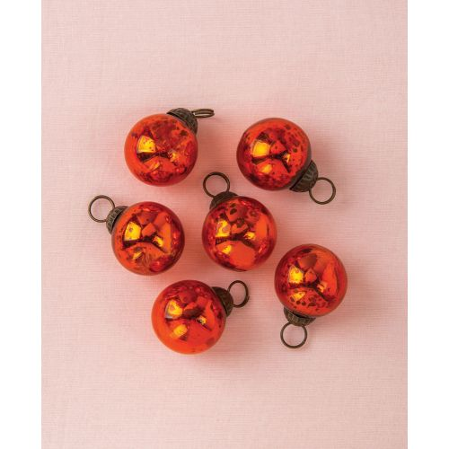 "6 Pack | 1.5"" Orange Ava Mini Mercury Handcrafted Glass Balls Ornament Christmas Tree Decoration"
