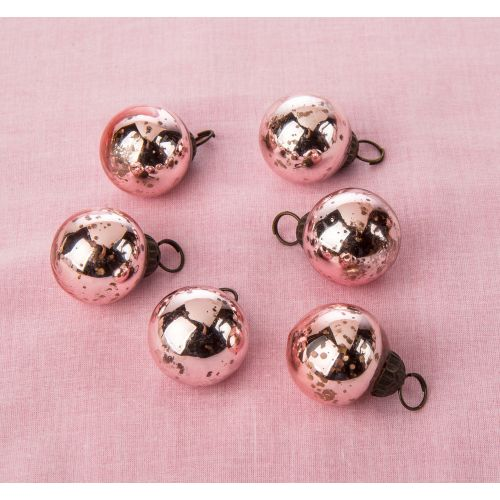 "6 Pack | 1.5"" Rose Gold Ava Mini Mercury Handcrafted Glass Balls Ornament Christmas Tree Decoration"