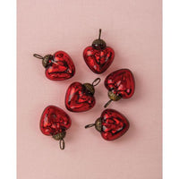 "6 Pack | 1.5"" Red Cora Mercury Glass Heart Ornaments Christmas Tree Decoration"
