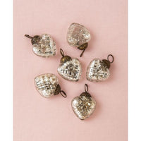 "6 Pack | 1.5"" Silver Deidra Mercury Glass Lined Heart Ornaments Christmas Tree Decoration"