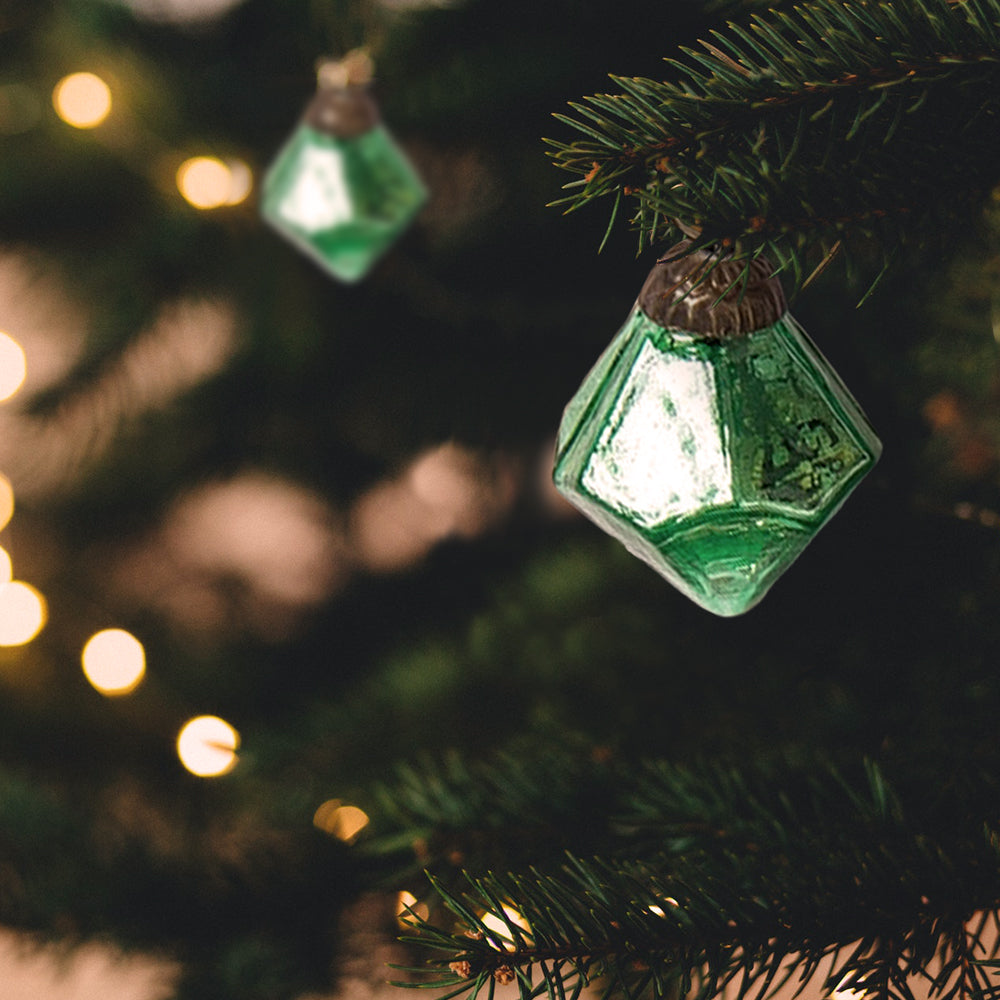 "6 Pack | 1.5"" Vintage Green Elizabeth Mercury Glass Diamond Ornament Christmas Tree Decoration - PaperLanternStore.com - Paper Lanterns, Decor, Party Lights & More"