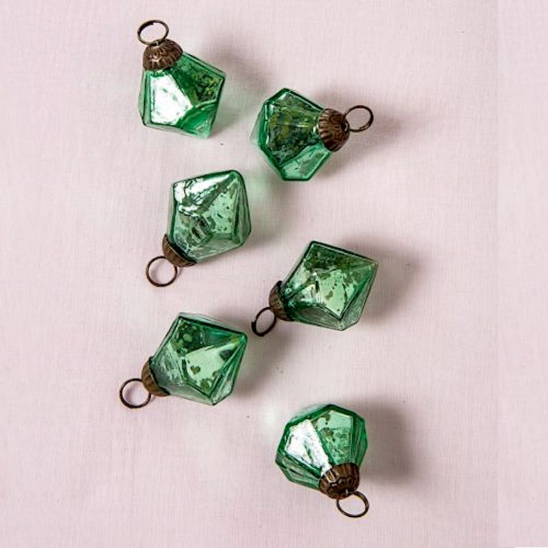 "6 Pack | 1.5"" Vintage Green Elizabeth Mercury Glass Diamond Ornament Christmas Tree Decoration"