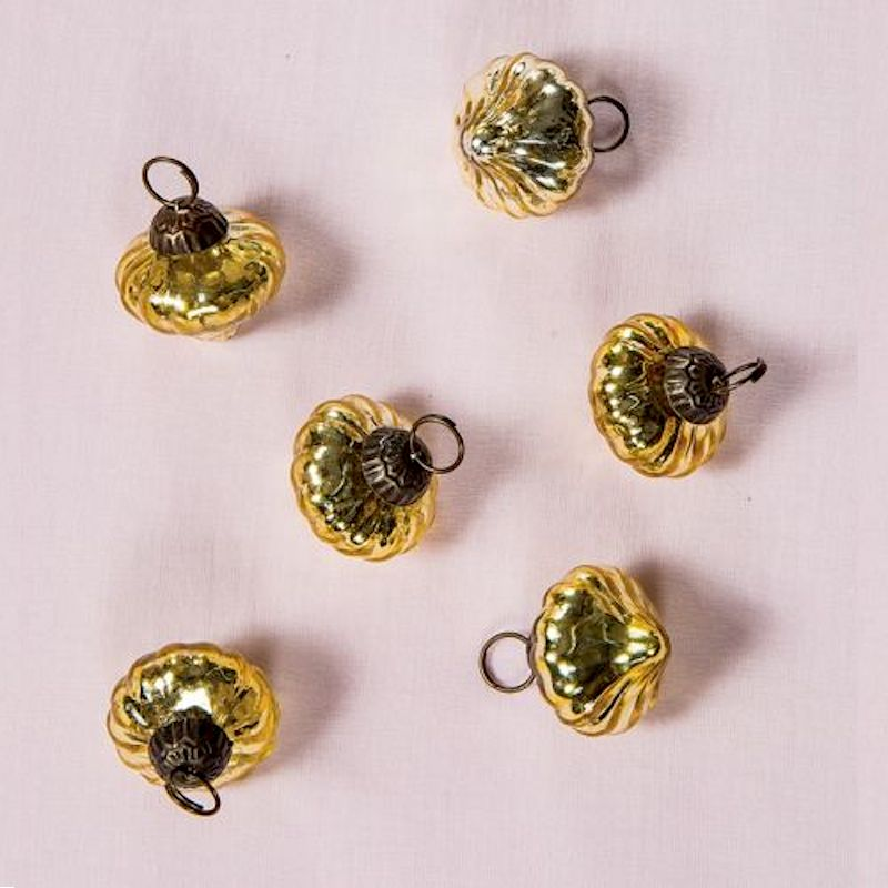 "6 Pack | 1.5"" Gold Lucy Mercury Glass Onion Shaped Ornament Christmas Tree Decoration"